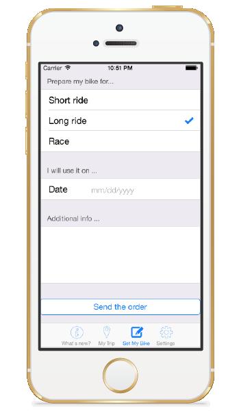 Send order to Moto1 to prepare the bike for ride